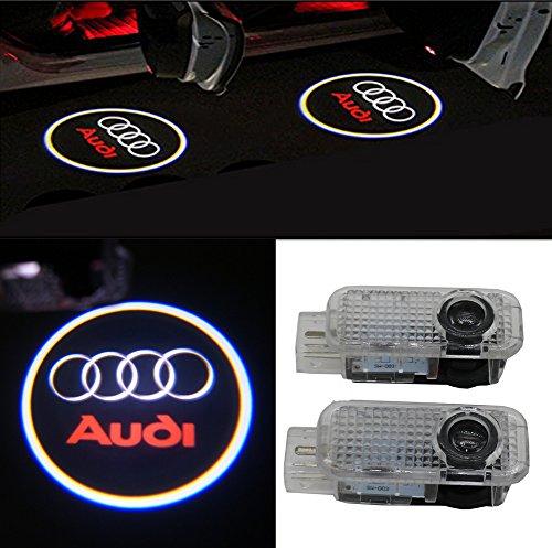 Grolish 2 Piece Audi Easy Installation Car Door LED Logo Projector Ghost Shadow Lights