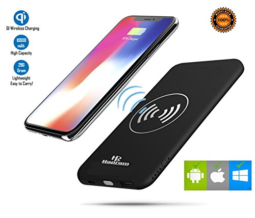 Wireless Charger And Power Bank 2-in-1 By Hapram, 10000mAh Portable power bank Charger QI Wireless Charging Pad for For iPhone,Samsung and Many More!