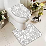 SOCOMIMI 2 Piece Bathroom Contour Rugs Arabesque Star Pattern Antique Islamic Architecture Decorative Elements Traditional Anti-Slip Water Absorption