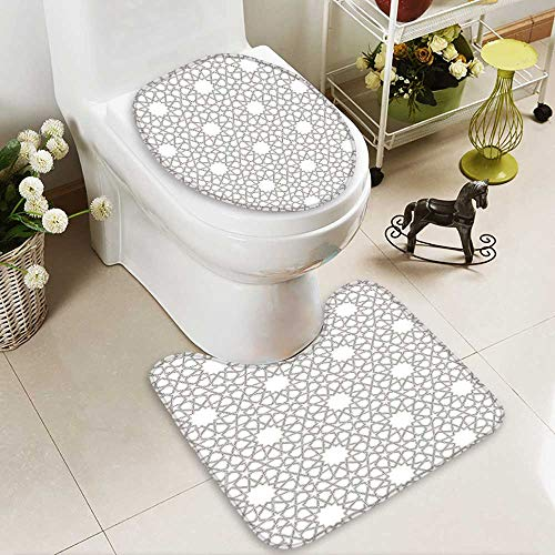 SOCOMIMI 2 Piece Bathroom Contour Rugs Arabesque Star Pattern Antique Islamic Architecture Decorative Elements Traditional Anti-Slip Water Absorption by SOCOMIMI