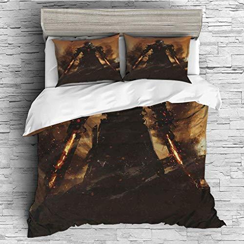 (3 Pieces/All Seasons/Home Comforter Bedding Sets Duvet Cover Sets for Adult Kids/Double/Fantasy World,Robot Warrior Terminator at War Fire Sword Weapon Paint Style Futur)