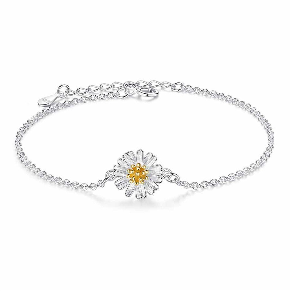 YHDBH Simple Cute 925 Sterling Silver Daisy Bracelets Flower Link Chain Braclets Women Wristband Jewelry