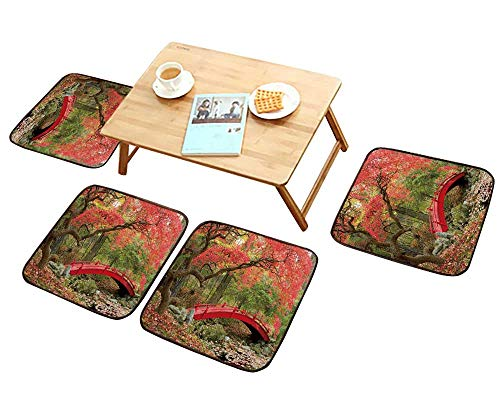 HuaWu-home Luxurious Household Cushions Chairs Beautiful Japanese Garden and red Bridge Soft and Comfortable W31.5 x L31.5/4PCS Set