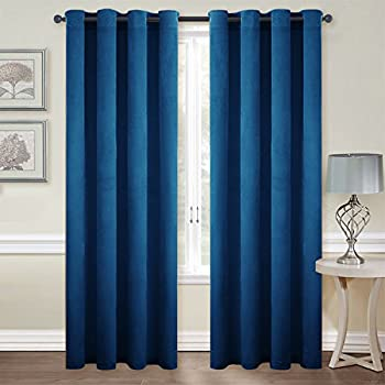 royal blue velvet curtains blue velour living room blackout velvet curtains soundproof woven home theater grommet top drapes by nicetown amazoncom navy blue curtains 108 in one