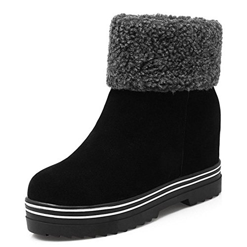 Fashion Boots Platform Heel Winter Hidden Women Booties Warm KemeKiss Pull On Black RWBA4Z