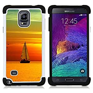 - teal orange sunset sail boat sea/ H??brido 3in1 Deluxe Impreso duro Soft Alto Impacto caja de la armadura Defender - SHIMIN CAO - For Samsung Galaxy Note 4 SM-N910 N910