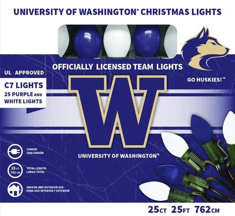 Let's Light It Up Officially Licensed College Christmas Lights (University of Washington)