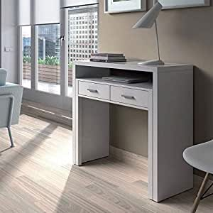 Habitdesign 004582BO - Mesa de escritorio extensible, color Blanco ...