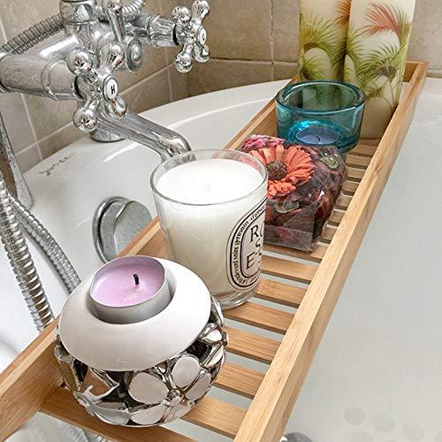 Bathtub Trays HAIZHEN, 100% Natural Bamboo Wooden Bathtub Caddy Bathroom Shower Organizer for Shampoo, Soap, Razors by Bathtub Trays (Image #3)