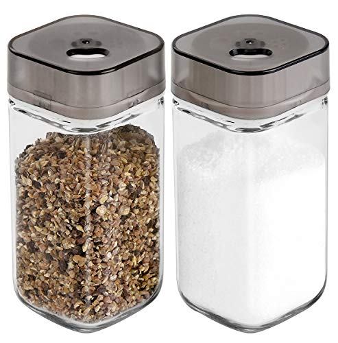 (Salt and Pepper Shakers Set with Adjustable Pour Holes - Premium Salt and Pepper Dispenser - Glass)