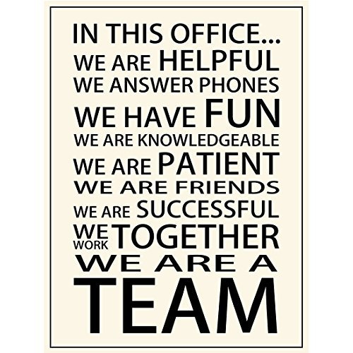 Motivational Motto In This Office We Are Helpful We Answer Phones We Have Fun We Are Friends We Are A Team Posters Prints Office Teamwork Wall Art Decor (17.72'' x 23.62'') (Team Poster)