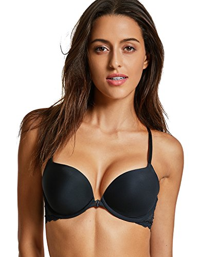 (DOBREVA Women's Front Close Bra Underwired T-Shirt Padded Push up Bra Plunge Black 34DD)