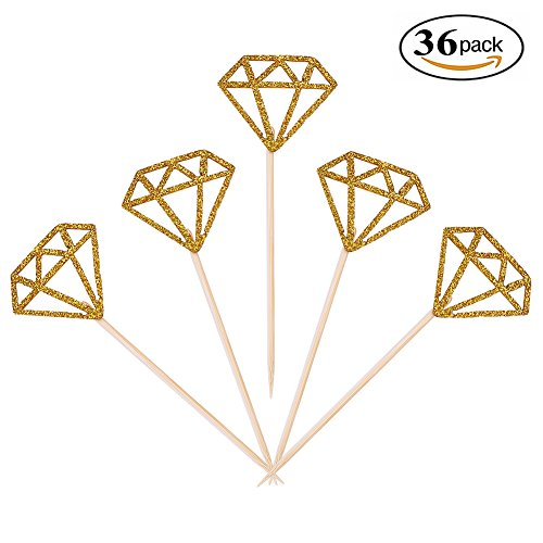 Aresmer 36 Pack Cupcake Toppers Gold Glitter Diamond Dessert Table Birthday Party Decor Wedding Engagement Baby Shower