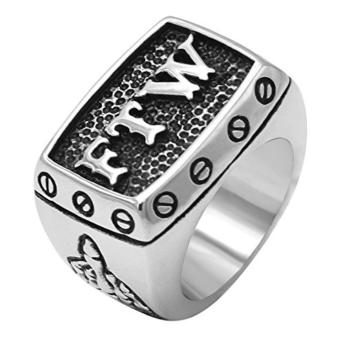 Motorcycle Ring - enhong 316L Stainless Steel Mens Outlaw Punk FTW Silver Biker Rings Motorcycle Jewelry US Size 7