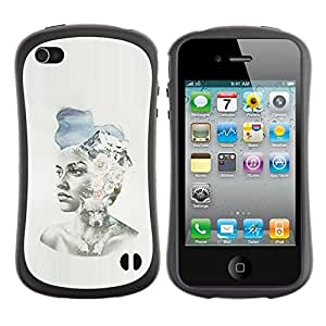 "Pulsar iFace Series Tpu silicona Carcasa Funda Case para Apple iPhone 4 / iPhone 4S , Pintura Chica Spring Fashion Sombrero Arte"""
