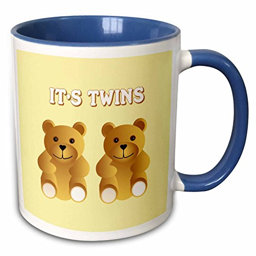 3dRose 777images Patterns for Kids - Its twins. Two brown teddy bears announce the new arrivals. - 15oz Two-Tone Blue Mug (mug_165753_11)