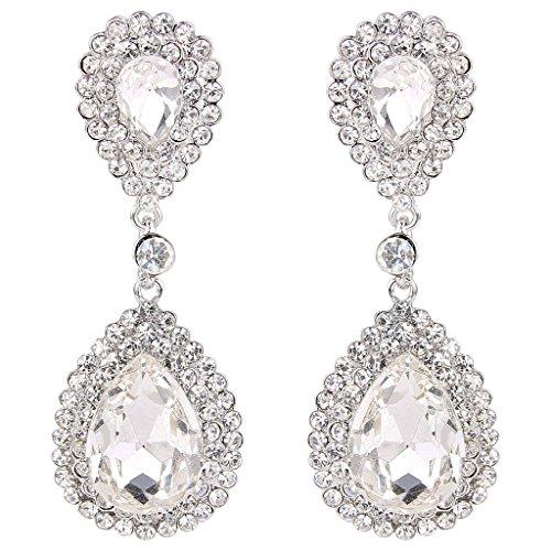 Beaded Teardrop Earrings - BriLove Women's Fashion Wedding Bridal Crystal Teardrop Infinity Beaded Dangle Earrings Silver-Tone