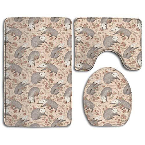 Bhg Rose - BHG Opossum and Roses Bathroom Anti-Skid Pad 3 Piece A Set of Toilet Rug Mat Lid Cove