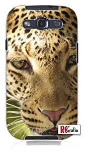 Serious Leopard Wild Exotic Cat Close Up Shot Unique Quality Hard Snap On Case for Samsung Galaxy S3 SIII i9300 (WHITE)