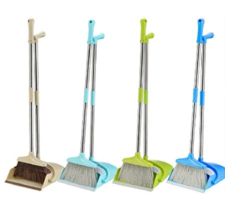 N M Z Long Handle Rotatable Self Cleaning Broom and Dust Pan with Long Handle Standing Upright Grips Sweep Set with Lobby Broom Combo Set (1 PC)