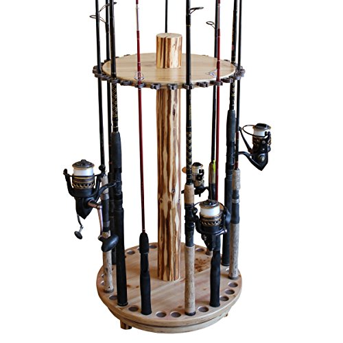 Rush Creek Creations Round Spinning 30 Fishing Rod Rack – No Tool Assembly