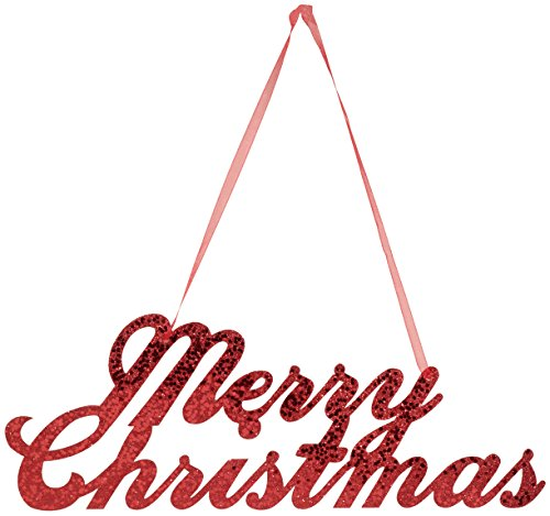 Merry Christmas - Creative Converting Merry Christmas Glitter Sign with Ribbon Hanger, Red