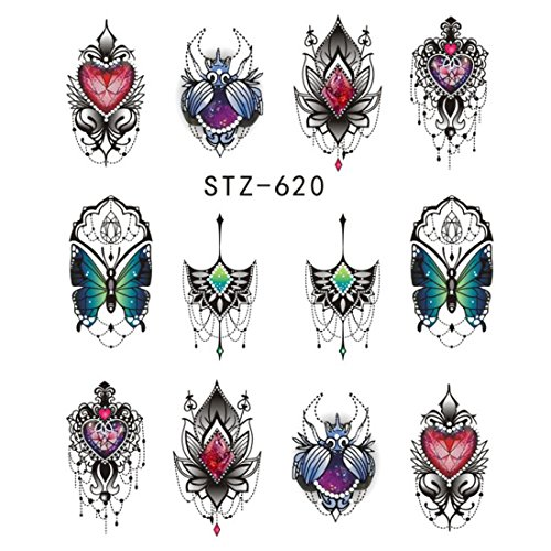1Pcs Gorgeous Necklace Black Red Blue Sticker Nail Art Tattoos Water Nails Designs For Nail Sticker -