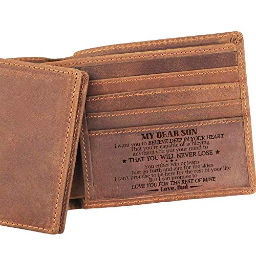 Dad Son Bifold Wallet - You Will Never Lose - Engraved Leather Bifold Wallet (A - My Dear Son, You Will Never Lose)