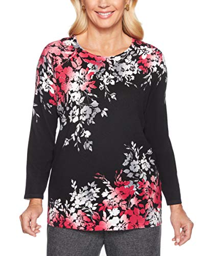 Alfred Dunner Women's Finishing Touch Asymmetric Floral Sweater (Medium)