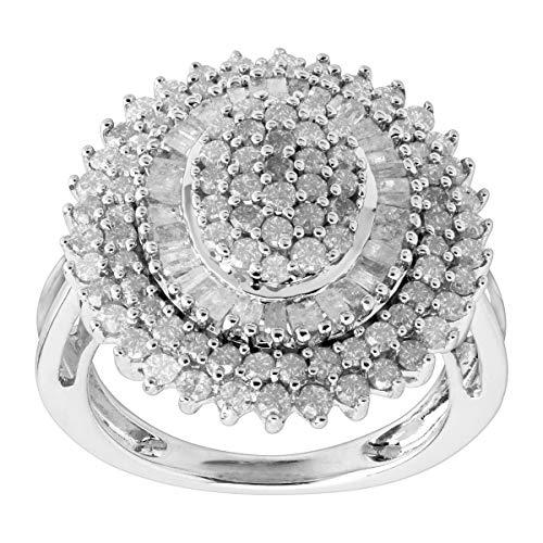 2 ct Diamond Oval Sunburst Ring in Sterling Silver