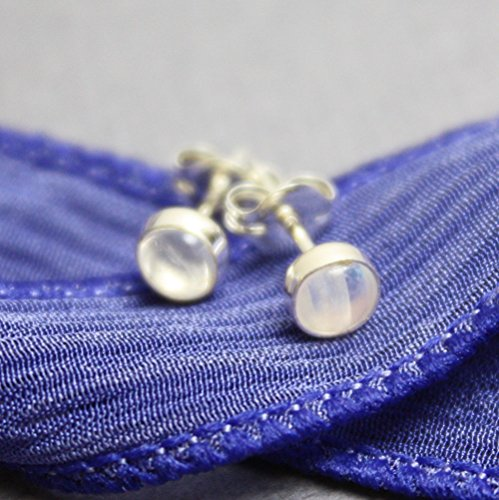 Rainbow Moonstone Stud Earrings with Sterling Silver Posts-Small 4mm