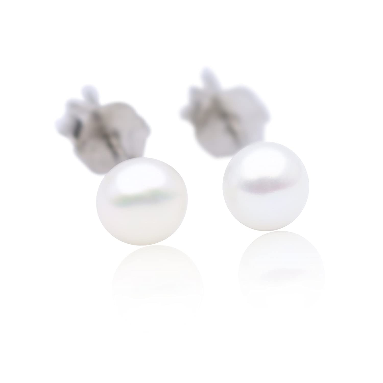 MONIPEARL 925 Sterling Silver AAAA Genuine Freshwater Cultured Pearl White Button Stud Earring for Women SELECT SIZE Stud Earring (3-3.5mm) SE1-008