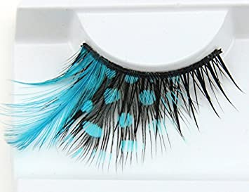 ae158d9b6a5 Amazon.com : Dorisue Eyelashes Sexy Blue Point Peacock Prints Volume Feather  eyelashes Extra extension false eye Makeup Blue Color One Pair : Beauty