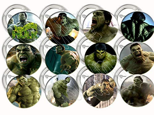 """The Incredible Hulk Buttons Party Favors Supplies Decorations Collectible Metal Pinback Buttons Pins, Large 2.25"""" -12 pcs Avengers Infinity War Marvel Comics"""