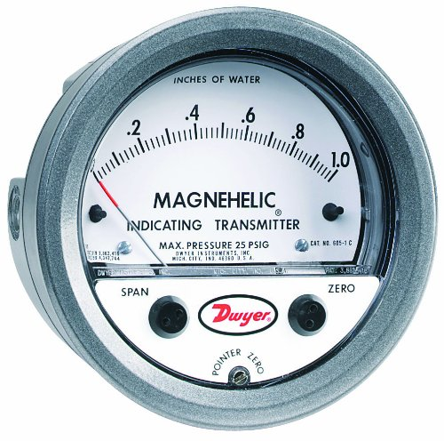 Dwyer Magnehelic Series 605 Differential Pressure Indicating Transmitter, 0-10''WC Range