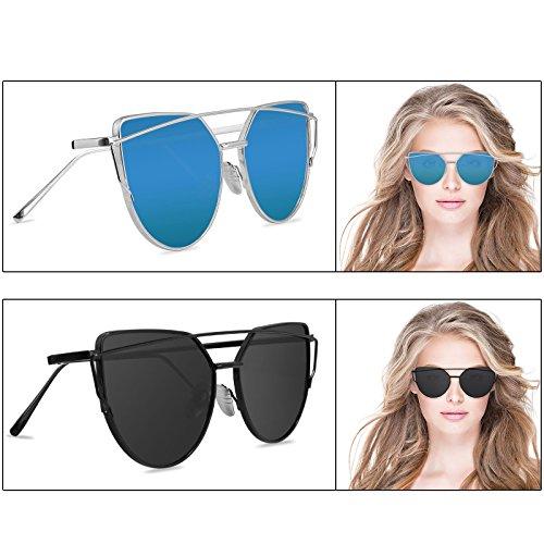 Sunglasses for Women, LIVHO G 2 Pack Cat Eye Mirrored Flat Lenses Metal Frame Sunglasses UV400