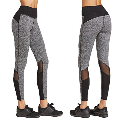 Women Leggings, Gillberry Women Sports Trousers Athletic Gym Workout Fitness Yoga Leggings Pants (L, Gray+Black)