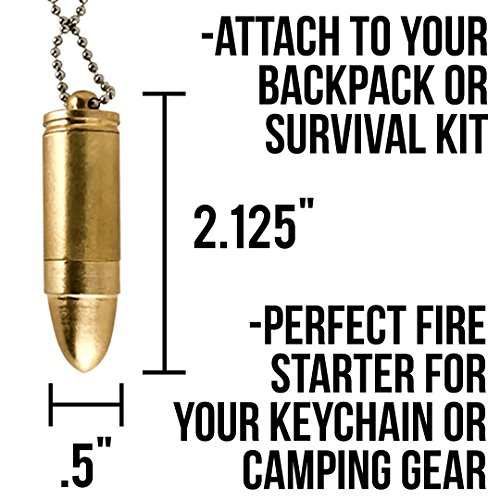 OPG3 1x Gold Bullet Keychain Cigarette Cigar Pocket Lighter, Brass Metal Baby Bullet And Military Survival Gear Fire Starter