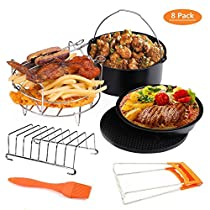 Deep Fryers Universal Air Fryer Accessories Including Cake Barrel,Baking Dish Pan,Grill,Pot Pad, Pot Rack with Silicone Mat by Bellagione (8 Pcs) (XL 8inch)