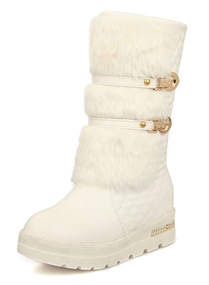 Aisun Femme Confort Chaussures de Neige Fourrées Bottes