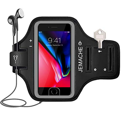 iPhone 7/8 Plus Armband, JEMACHE Gym Running Workout Arm Band Case for iPhone 6/6S/8/7 Plus - Exercise Pouch Phone Holder, Fingerprint Access (Black)