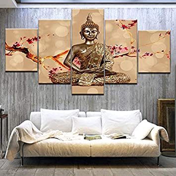 Mural Wall Art 5 Pieces Buddhism Zen Buddha Statue Plum blossom Canvas Painting 5 panel artwork mural Home Decor Picture HD Print poster Kkxdpq A,Framed