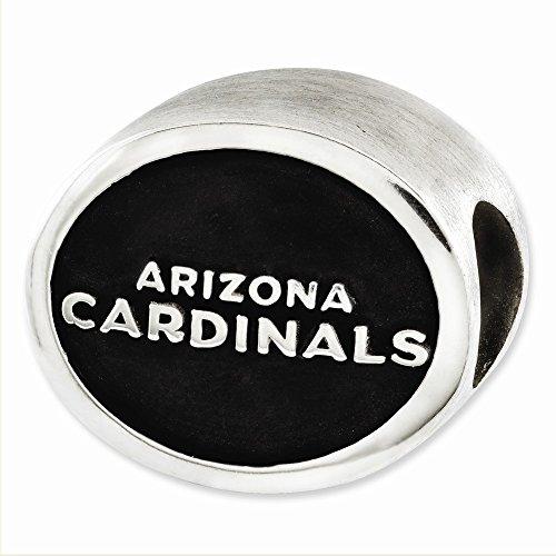 Mia Diamonds 925 Sterling Silver Enameled LogoArt Arizona Cardinals NFL Bead Charm for Charm Bracelet