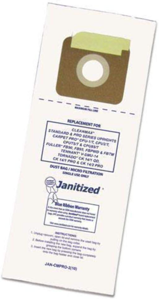 Janitized cleanmax estándar y Pro-Series Micron 2 Capas Bolsas para Aspiradora/1 Caso Mucho – 100 Bolsas Individuales OEM: CMP * * * Incluye: Amazon.es: Hogar