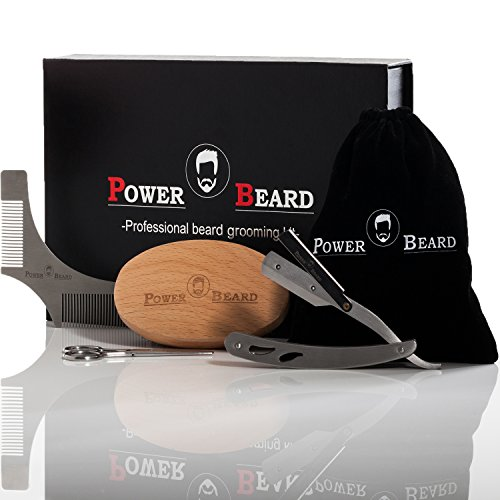 Beard, Mustache Grooming and Trimming Kit by PowerBeard | 100% Natural Boar Beard Brush, Stainless Steel Scissors, Beard Shaping Tool and Straight Edge Shaver in a Gift Box with Bonus Velvet Bag by Power Beard