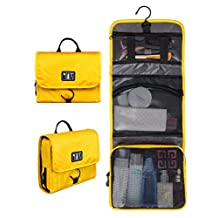 BAGSMART Compact Travel Toiletry Bags Hanging Bathroom Bag Portable Toiletry Kit Clear Cosmetic Makeup Bag Case Organizer-Yellow