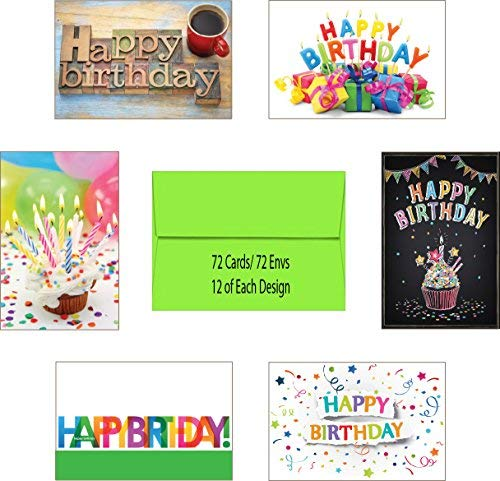 Made in USA 72 Count Blank Birthday Cards Assortment Pack Box Set, Blank Interior, 12 of Each Design, and 72 A6 Martian Green Envelopes, Card Size 4 x 6