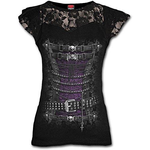 Spiral–Donna–Corsetto stringivita–Top con lacci con maniche; colore: nero