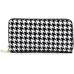 Faux Patent Leather Glossy Houndstooth Double Zip Around Clutch Wallet Wristlet (Houndstooth)