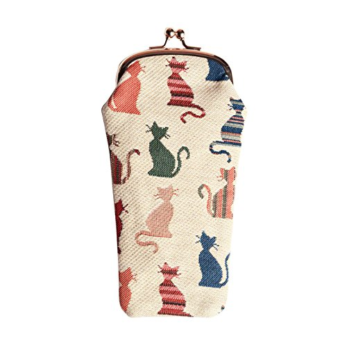 Cheeky Cat White and Red Print Tapestry Eyeglasses Pouch Sunglasses Bag Spectacle Pouch by Signare ()